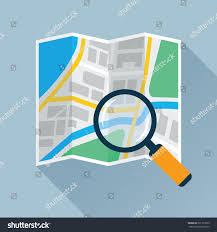 City Map Glasses Magnifying Glass Search Over Navigation Map Stock Vector 501313339