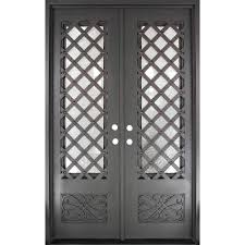 Metal Front Doors For Homes With Glass by Iron Doors Unlimited 62 In X 97 5 In Luce Lattice Classic 3 4