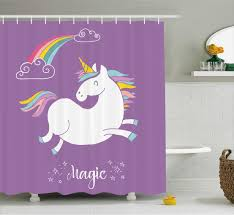 unicorn home and kids decor shower curtain mythical animal with unicorn home and kids decor shower curtain mythical animal with clouds and rainbow figure fairy image fabric bathroom set with hooks 69w x 70l inches
