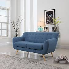 Modern Loveseat Sofa Mid Century Modern Linen Fabric Sofa Loveseat In