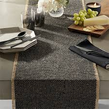 table runner fray cotton and jute table runner in table linens reviews cb2