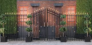 20 u0027 black wrought iron gates with right left panels town
