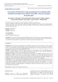 bmw hospital assessment of biomedical waste management of a multispeciality