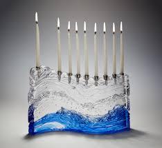 large menorah bermuda wave menorah by joel and bless glass menorah