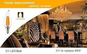 lightstory ca10 6w led candelabra bulb 60w equivalent led bulb