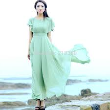 light green dress with sleeves light green short sleeves chiffon maxi dress summer holiday dresses