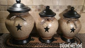 primitive crackle tan black star ceramic canisters set of 3