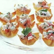 canape cups recipes mango curry shrimp salad in wonton cups recipe epicurious com