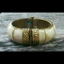 vintage bangle bracelet images Vintage jewelry fantastic ivory brass bangle bracelet poshmark jpg