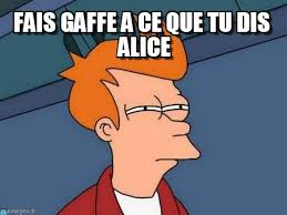 Alice Meme - fais gaffe a ce que tu dis alice futurama fry meme on memegen