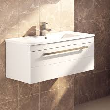 modern bathroom gloss white wall hung vanity unit single dropdown