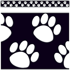black white paw prints straight border trim tcr4642 teacher