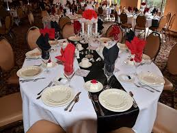 red and black table settings black tie motown event with classic