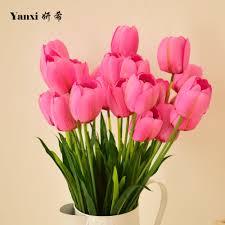 Flower Decorations For Home Online Get Cheap Silk Tulip Flower Arrangements Aliexpress Com