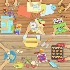 cours de cuisine à deux les enfants ouvrent et des illustrations du cours de cuisine deux