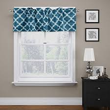 Valance Curtains For Bedroom Amazon Com Flamingop Quatrefoil Navy Valance Curtain Extra Wide