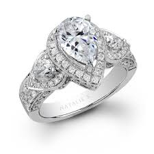 gold pear shaped engagement ring natalie k 14k white gold pear shaped side