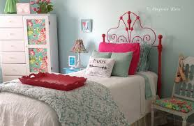 vintage white iron headboard gets a coat of watermelon pink