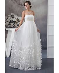 wedding dresses maternity strapless beaded pearls tulle maternity wedding dress with petals
