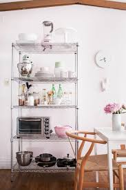 Bakers Rack With Doors How To Style Wire Shelves For A Living Space And Kitchen Space