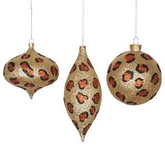 safari glitzy cheetah ornaments set of 3 gold copper