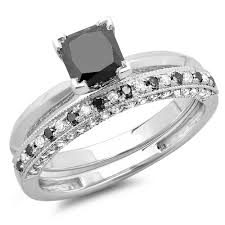 black diamond wedding set 1 50 carat ctw 14k gold princess cut black