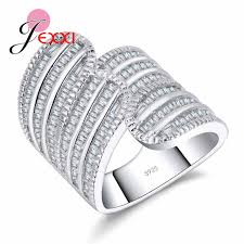 sterling silver wedding gifts jexxi luxury 925 sterling silver wedding rings for women men aaa