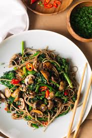thanksgiving noodles recipe roasted teriyaki mushrooms and broccolini soba noodles u2014 sobremesa