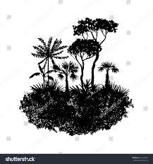 vector landscape palm trees grass black stock vector 631564223
