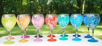 flower painted wine glasses glorious goblets