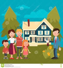 happy family buying a new house stock vector image 75061013