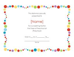preschool certificates preschool graduation certificate template free kindergarten