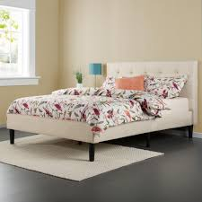 zinus taupe full upholstered bed hd ftpb f the home depot