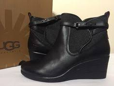 womens wedge boots size 9 ugg australia finney 1005432 black suede s low heel fashion