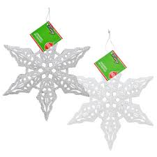 bulk large glittery plastic snowflake ornaments 11 in at