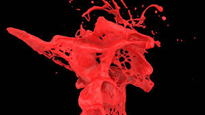 close up view of red color splashing in slow motion alpha channel