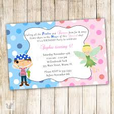Personalized Birthday Invitation Cards Pirate Fairy Birthday Invitation Personalized Card Kids