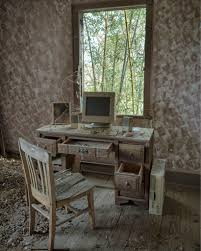 old apple computer in abandoned house cyberpunk