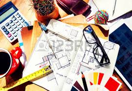messy designer u0027s table sketch tools architect concept stock photo
