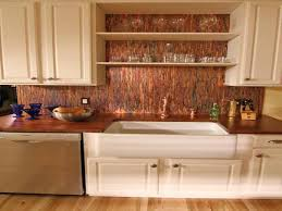 copper backsplash white tile in sink cabinets with dishwasher