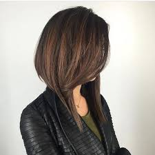 long drastic bob haircuts women s long dramatic a line bob with front layers and brunette