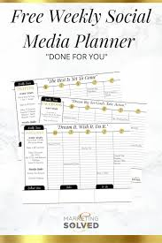 social media planner free weekly social media planners done for you marketing solved