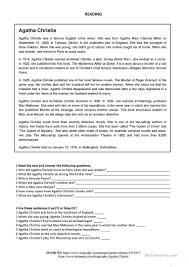 agatha christie reading worksheet free esl printable