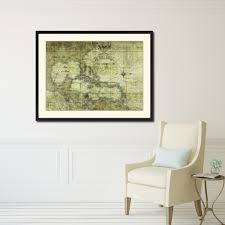 caribbean vintage antique map wall art bedroom home decor gift