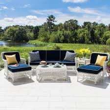 Deep Seating Patio Furniture Sets - everglades 7 piece white resin wicker patio deep seating set by