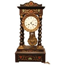 Unique Desk Clocks French Empire Style Brass Inlaid Portico Clock