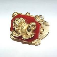 gold foo dogs auth kieselstein cord foo dogs 18k carnelian dia ring item 1167212