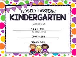 kindergarten certificates expanded transitional kindergarten etk end of year editable