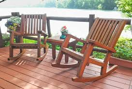 Old Rocking Chair On Porch Redwood Outdoor Rocker Hand Crafted Wooden Rocker