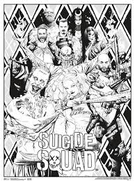 Suicide Squad movie poster coloring pages for adults  Adult